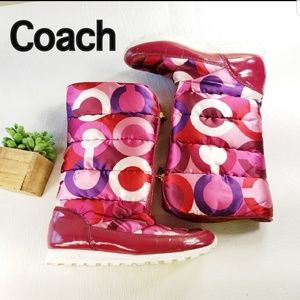 Coach 10 Jolt Pink Berry Snow Tall Boots